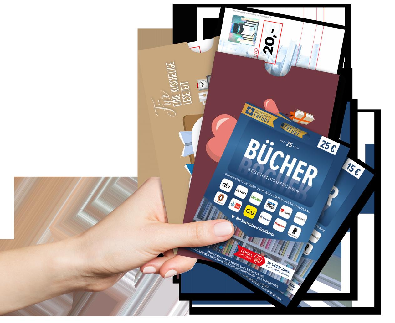 Fächer-Hand Bücherscheck und BÜCHER Gutschein